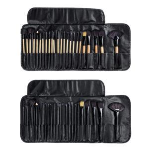 24 st Makeup Brush Set Cosmetics Makeup Brush Kit With Leather Case Foundation Eyeliner Blending Concealer Mascara Eyeshadow Face Powder