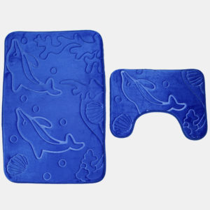 2st 3D Dolphin Flanell Toalettlock Badmattor Mjukt golv Hem Antislip duschmattor Badrumsmatta Set