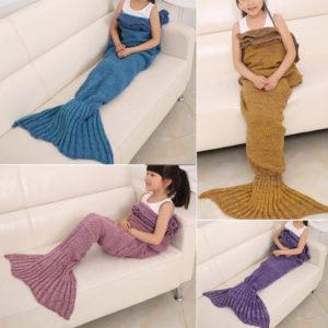 70x140cm Child Yarn Knitted Mermaid Tail Blanket Handmade Crochet Throw Super Soft Sofa Bed Mat