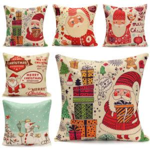 45X45cm Jul Santa Claus Snowmen Present Mode Bomull Linne Örngott Heminredning