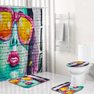 Modern flicka dusch gardinsats Swing bad gardiner badrum gardiner badkar matta för badrum dekoration