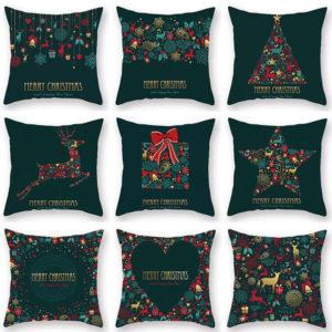 2020 Christmas Cushion Cover Green Home Decor Sofa Pillow Case Cover Seat Car Throw Pillowcase Christmas Decor
