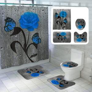 Badrum Duschdraperi Vattentäta Ringar Kroklock Toalettöverdrag Set 180x180CM