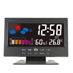 DC 000 Digital Thermometer Hygrometer Weather Station Alarm Clock Colorful LCD Calendar