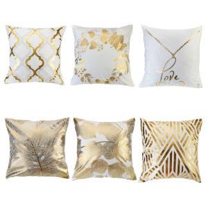 45 x 45cm kudde guldblad geometriska mönster kuddfodral fyrkantiga dekorativa örngott för dekor soffstol