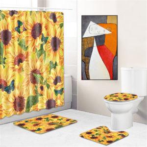 4Pcs Bathroom Mat Set Pedestal Rug Lid Toilet Cover Shower Curtain Non Slip