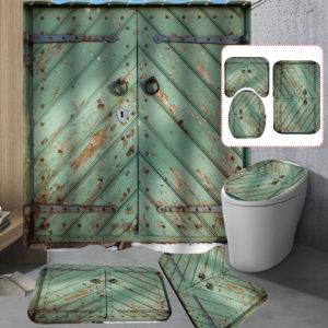 Grön Vintage Door Badrum Duschdraperi Halkskyddsmattasats Vattentät Anti-rostbadmatsats
