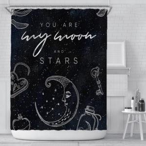 180x180cm Waterproof Shower Curtain Star Shower Curtain Digital Printing Polyester Shower Curtain for Bathroom Decor