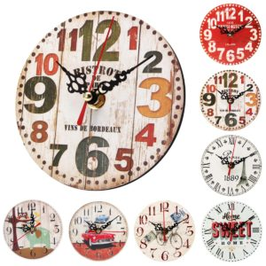 12cm Vintage Rustic Round Wooden Wall Clock Chic Antique Home Office Decor Gifts