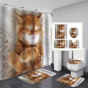 Cat Printing Waterproof Bathroom Shower Curtain Toilet Cover Mat Set