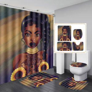African Black Woman Girl Bathroom Shower Curtain Toilet Cover Pedestal Decor Set