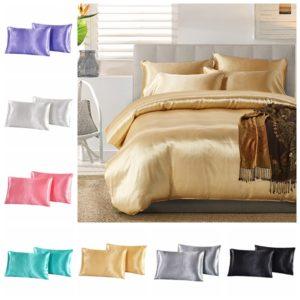 2PCS Imitation Silk örngott Kuddfodral Väskor Stand Queen King Size sängkläder