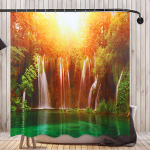 180x180CM 3D Waterfall Nature Scenery Shower Curtain Water-repellent Polyester Bathroom Curtain