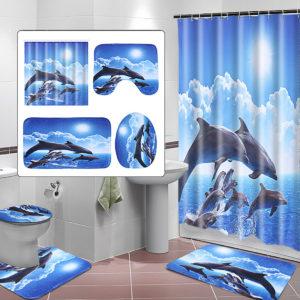 Duschdraperi Badkudde Piedestal Matta Toalettöverdrag Konst Mode Dolphin