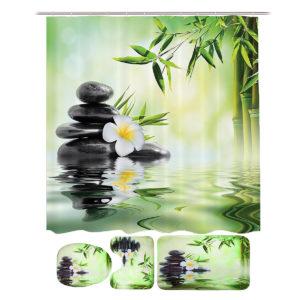 Bamboo Printing Waterproof Bathroom Shower Curtain Toilet Cover Mat Non-slip Carpet