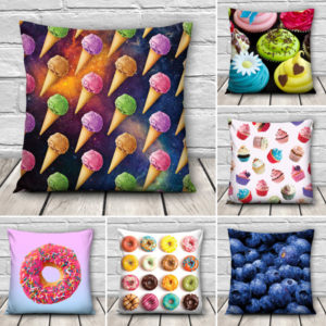 3D Sweet Food Patterns Throw Pillow Case Home Sofa Car Waist Cushion Cover