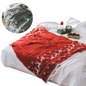 Christmas Elk Snowflake Stickade filtar Kasta matta Sovmatta Bäddsoffa