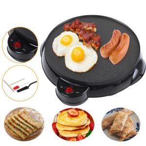 220V Non-stick Electric Crepe Maker Pizza Maker Pancake Maker Crepe Making Pan for Household Kitchen Tool Cooking Pan
