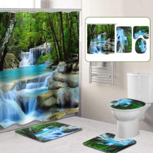 3D Bathroom Shower Curtain Waterfall Non-slip Mat Set Lid Toilet Cover Rug Bath