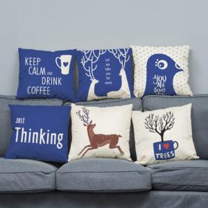45 x 45cm Super Soft Plush Modern minimalist Style Deer Nordic Cotton Pillowcase For Home Sofa Decration