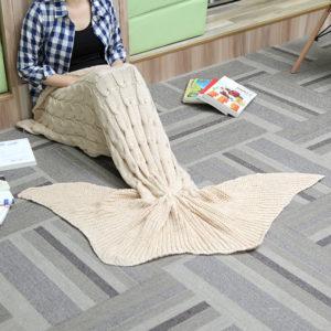 60x160cm 3 färger garn stickning sjöjungfrun svans filt varm super mjuk sängmatta sovsäck väska födelsedagspresent