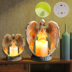 Resin Electronic Angel Candle Holder Feather Wings Memorial Ornaments Light Decorations