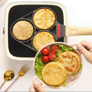 Medical Stone Coating Non-stick Three Holes Omelette Pan Egg Dumpling Pan Non-slip Anti-scalding Breakfast Pan