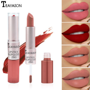 Double head non-stick cup matte matte lip gloss two-in-one matte durable bean paste does not fade dip cup lipstick female