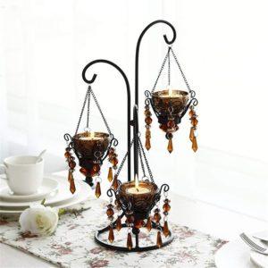 Romantiskt kreativt kristallstearinljusstakehållare levande ljus för bröllopsdagfirande hemborddekoration
