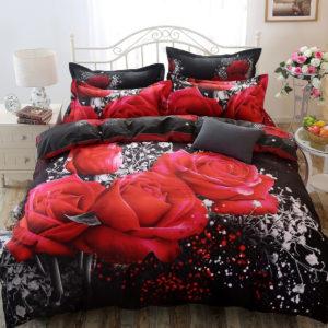 Cotton 3D Rose Bedding Sets Soft Duvet Cover Bedsheet Pillowcase Reactive Printed Bedclothes Queen Bed Linen