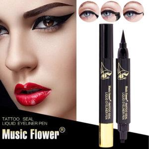 2in1 Music Flower Liquid Eyeliner Stamp Eye Liner Pencil Langvarig smink