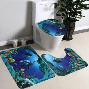 3pcs/Set Soft Flannel Blue Sea Contour Pedestal Rug Lid Toilet Cover Bath Mat Carpet
