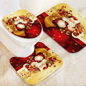 Jultomten Vattentät badrum Toalettstolar Mattor Halkfria mattor Badmattor Set Print Heminredning