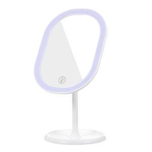 Professionell sminkspegel med LED -ljus USB -laddning 180 Rotation 3 ljusläge 10X förstoring Touch -knapp Avtagbar bas