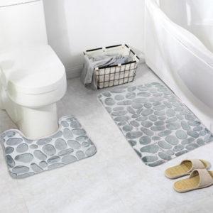 Honana 2Pcs 3D Stone Memory Foam Bath Mats Set Anti-slip Golvmatta Absorberande badrums toalettmattor