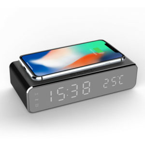Electric LED 12/24H Alarm Clock With Phone Wireless Charger Table Digital Thermometer Display Desktop Clock