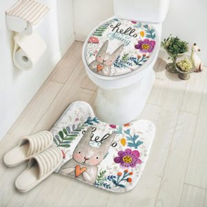 Carpet Absorbent Non-Slip Pedestal Rug Lid Bathroom Toilet Cover Bath Mat New Cut Cartoon Rabbit