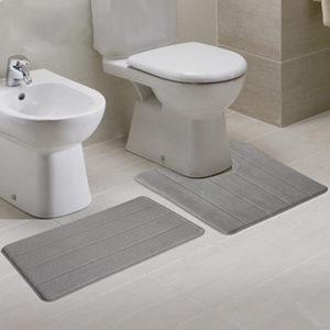 2pcs Super Absorbent Memory Foam Coral Velvet Toilet Mat Set Bathroom Rug Floor Feet Cushion