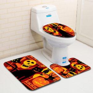 3PC Halloween Print Matta Badrum Halkfria Piedestal Matta Lock Toalettöverdrag Badmatta Set