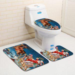 Tvättbart badrum Toalettstolskläder Badrumsmatta Antislip Badrumsmatta Set Badgolvmattor